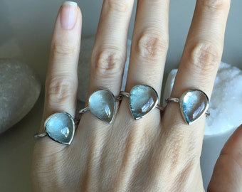 Aquamarine Cabochon Ring- Stone Ring- Silver Stone Rings- Gemstone Rings- March Birthstone Ring- Silver Rings- Aquamarine Silver Rings