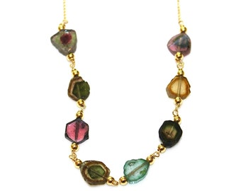 "Watermelon Tourmaline Necklace Tourmaline Slice Watermelon Tourmaline Jewelry Multicolor Gold Station Necklace 16"" Necklace"