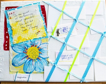 MEMO BOARD for Quotes of Inspiration, Enouragement, or Goals, Wall Decor, Upcycled Art