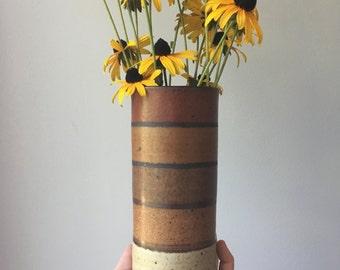 Vintage Studio Pottery Vase - Ombre - Stoneware Vase