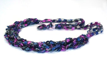 Blue and Pink Ladder Yarn Necklace, Handmade Fiber Necklace in Mixed Berry Colors, Crochet Choker, Vegan Jewelry, Ready to Ship