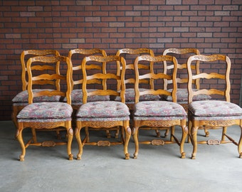 Country French Ladder Back Dining Chairs / Pierre Deux Style Dining Chairs  / Set Of 8