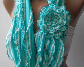 Ruffle Loop Scarf Roses Scarf Chiffon Scarf Fashion accessories Gift For Her Christmas Gift Holiday Gift Trending Item