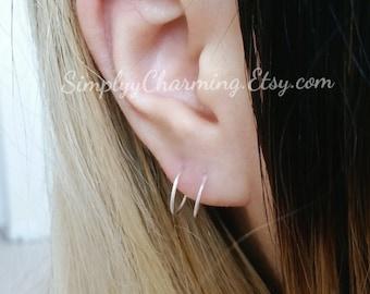 Double Hoop Fake 2nd Piercing Lobe Earring Body Jewelry Sterling Silver/14K Gold Filled