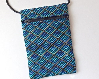 Pouch Zip Bag AQUA Pyramid/Diamond pattern Fabric.  Great for walkers, markets, travel. Cell Phone Pouch. Evening Purse. Turquoise bag.