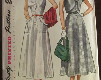 Vintage 1940s Simplicity 2847 SUNDRESS and BOLERO Sewing Pattern Size 18 1/2 Bust 37""