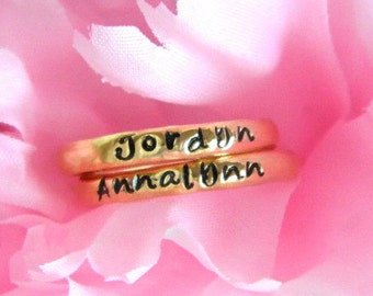 Stackable Ring, Personalized Stacking Ring, Gold Name Ring, Gold Stacking Ring, Personalized Jewelry, Inital Ring, Hand Stamped Ring
