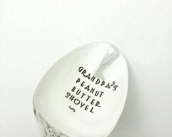 Grandpa's Peanut Butter Shovel Stamped Spoon, Gift for Grandpa, Gift for Papa, Gift for Papa, Peanut Butter Lover