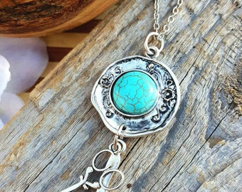 Poetic Pretty in Turquoise Hair Stylist Scissor and Comb Charm Necklace
