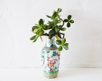 Vintage 19th-Century Kangxi Famille Verte Baluster Vase