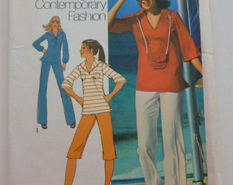 7524 Simplicity Size 8 Young Contemporary Fahsion Misses Pants in Two Lengths Pullover Tops and Bag C.1976 Viintage Uncut
