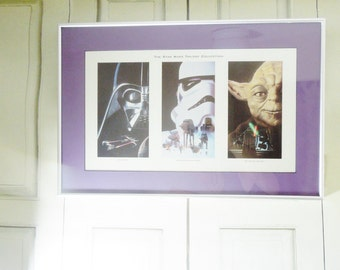 Star Wars Trilogy Framed Art. A New Hope. The Empire Strikes Back. The Return of the Jedi.  Measures 21 x 14 inches. Star Wars Collectible