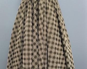 Vintage 1950's Black Check Circle Skirt Full Ilene Ricky Skirt