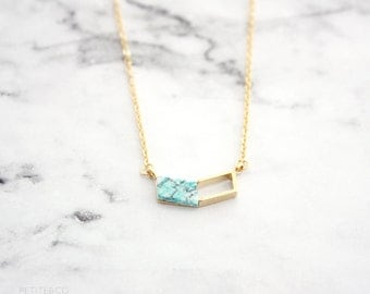 turquoise chevron necklace - minimalist modern jewelry / gift for her under 20