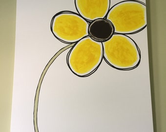 Large whimsical flower painting