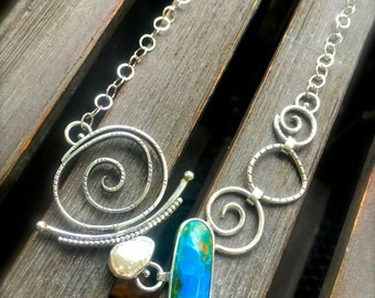 Peruvian Opal and Pearl Asymmetrical Necklace - Gypsy Necklace - Boho - Sterling Silver -