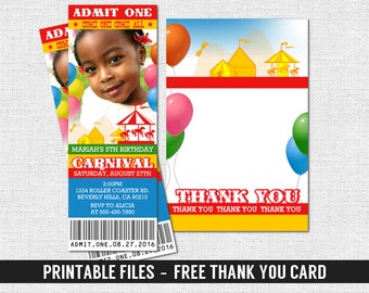 CARNIVAL TICKET INVITATIONS Circus Birthday Party + Free Thank You Card - (print your own) Personalized Printable Files
