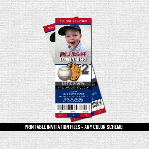 BASEBALL TICKET INVITATIONS Birthday Party - (print your own) Personalized Printable Files - Any Color!