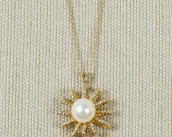 """Antique Classy 14K Yellow Gold 6mm Wide Organic White Freshwater Pearl Accented Starburst Sun Pendant & 18"""" Chain Necklace FREE SHIPPING!"""