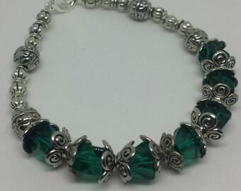 Swarovski Crystal Bracelet, Green Swarovski Crystal Bracelet, Green Bracelet, Silver Bracelet, Crystal Bracelet, Green Crystal Bracelet