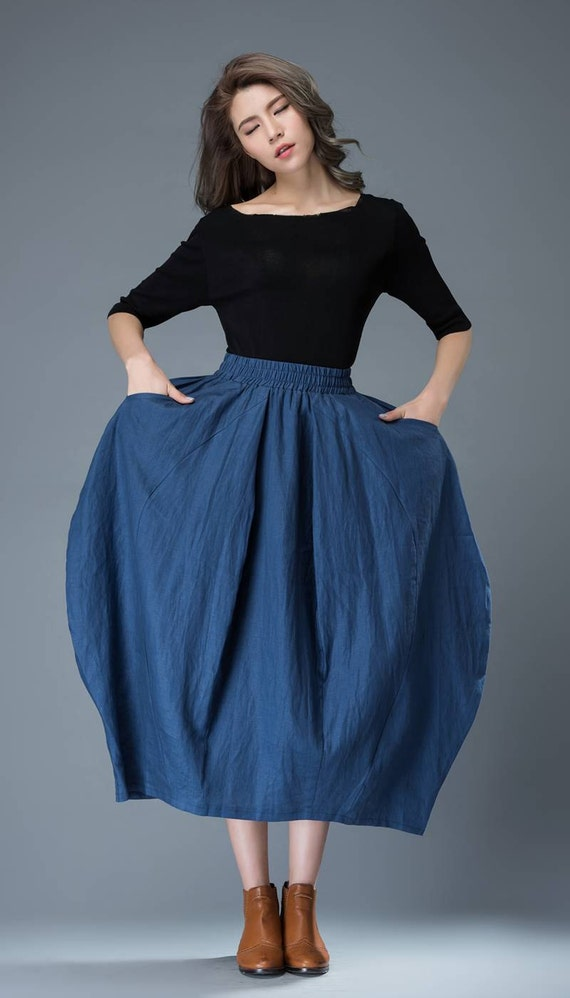 Blue Linen Skirt - Modern Trendy Tulip-Shaped Comfortable Woman's Skirt with Elasticated Waist Plus Size Clothing (C826)