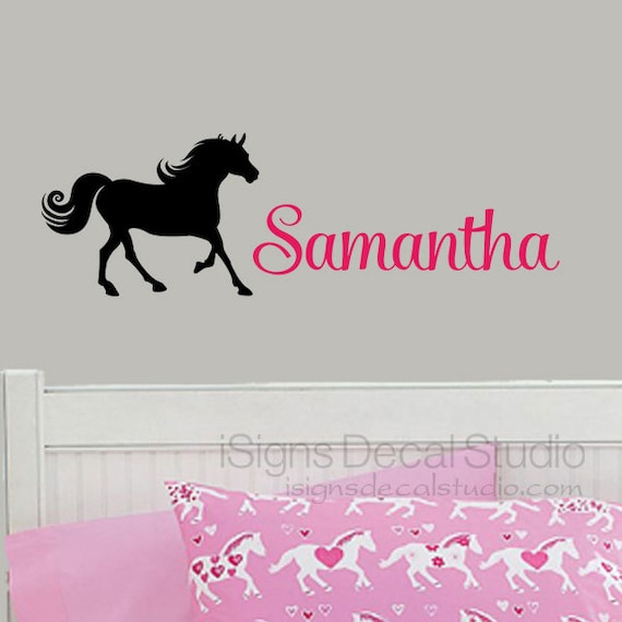 Girls name decal, girls horse decor, personalized horse decal, horse name decal, nursery, pony decal