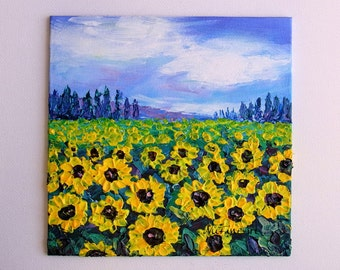 "Sunflower Field Painting Original Landscape Blue Sky Palette Knife Textured Impasto Mini Small 6x6"" Canvas Panel"