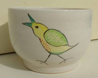 Small Pottery Serving Bowl Fruit bowl with Birds Cream/White Ceramics Handmade and Hand Painted in UK