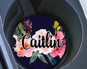 Girly car accessories, Floral decoration, Pretty floral car coaster, Monogram car decor, Dark navy blue and pink, Gifts for grandma (1674)