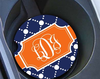 Preppy Monogram car coaster , Navy pattern with orange , Auto decor for her  (1004)
