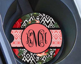 Ikat car coaster, Floral car cup holder coaster, Pretty car accessory, Roses car decoration for women, Pink mauve roses black Ikat (1587)