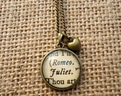 Romeo and Juliet Book Page Necklace - Shakespeare