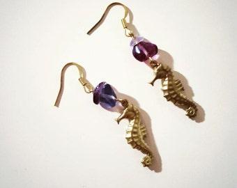 Seahorse Precious Stone Earrings
