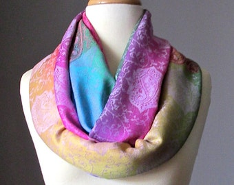 Infinity scarf - ombre scarf - floral scarf -  light fall scarf