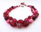 Pink Lucite Necklace - Vintage W Germany Double Strand Fuchsia Faceted Bumpy Moonglow Bead Choker