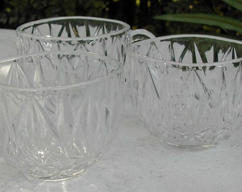 Squared Glass Punch Cups Molded Cut Glass Free Shipping in USA