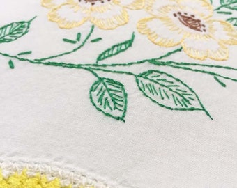 Flower Pillowcase, Yellow and Green Pillowcase, Girls Room Decor, Vintage Pillowcase, Embroidered Pillowcase, Standard, Girls Pillowcase
