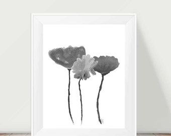 Botanical Art, Black and White Art, 11x14, Modern Tulips, Contemporary Flowers, Modern Flowers, Watercolor Painting, Black White Floral