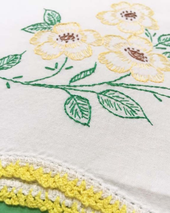 Yellow and Green Embroidered Flower Vintage Pillowcase