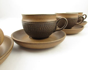 Denby - England - 'Cotswold' Pattern - Four Cups With Saucers - Earthenware - Denby Made in England - 1980s - Brown on Brown Texture