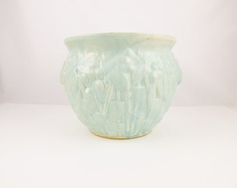 "An Aqua/Green McCoy 'Basketweave' Jardiniere - Pastel Matte Glaze - 7 1/2"" Planter - Nelson-McCoy Jardiniere - Collectible"