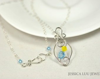 Yellow Blue Swarovski Crystal Necklace Wire Wrapped Jewelry Handmade Sterling Silver Necklace Aquamarine Necklace Swarovski Crystal Jewelry