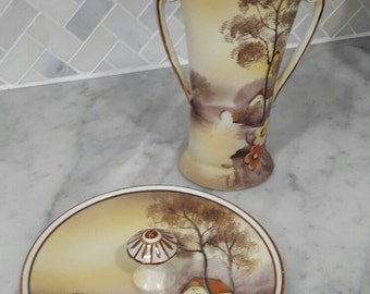 Noritake Hand Painted Vase and Ring Dish