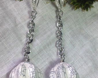 "Long Silver Dangling Ball & Chain Earrings Retro Hip Funky Swinging Ball and Chain 3.25"" Vintage White Crackle Beads Assemblage~WishAnWear"