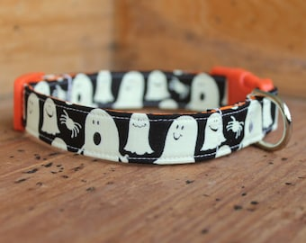 Halloween Dog Collar - Glow-in-the-Dark Ghost Print