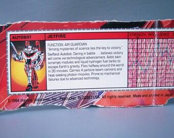 Vintage G1 Transformers Original Jetfire Tech Specs