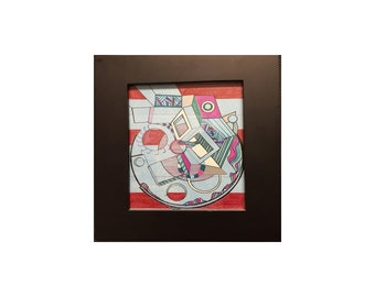 B-Side: 9x12 inch Framed, Colorful, Geometric, Abstract, Avant Garde, Original, Contemporary Acrylic Art