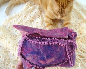 felt bag, felt clutch, felt wallet, purple felt, boho felt, fairy felt , felt purse, felted bag, boho bag, hippie felt, felt accessories
