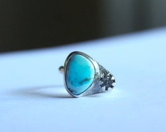 RAW Diamond Ring with Stunning Turquoise