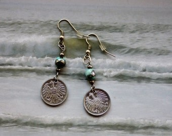 1980/91 Austria, 2 Groschen, Genuine Coin Earrings
